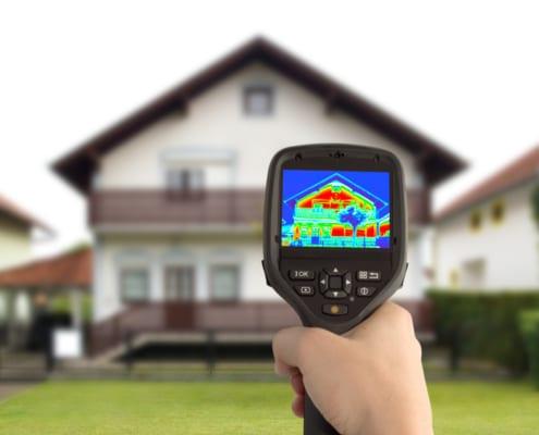 Waermebild Aufnahme Messung Haus Energiesparen Dämmung