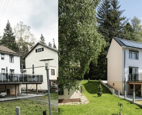 Vor und nach dem Vergleich eines neuen Daches
