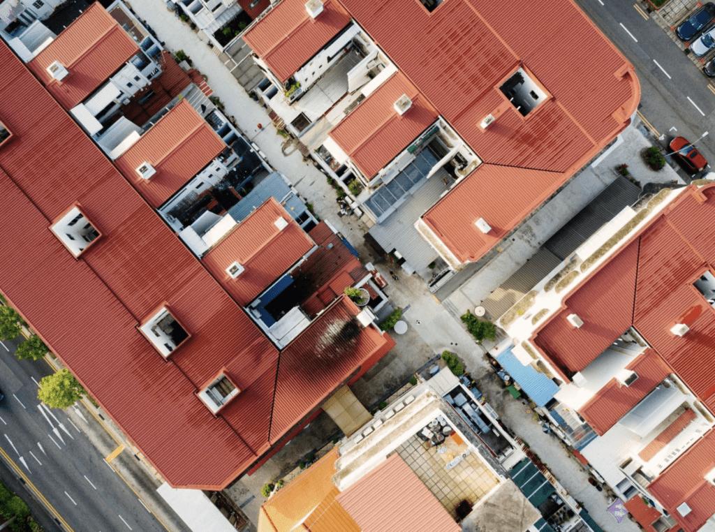 Bild eines Daches von einer Dachinspektion mit Drohne