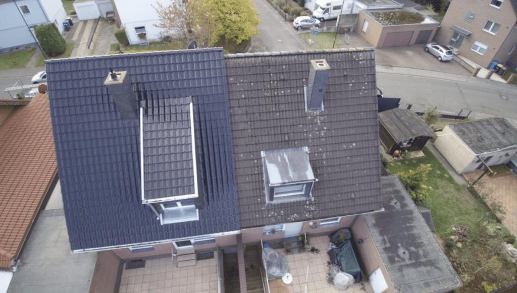 Bordsteinattraktivität: ein neues Dach neben einem vernachlässigten Dach