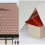 ein Haus mit Dachrenovierung neben Nahaufnahme einer Euro-Note abgebildet