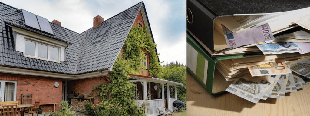 Ein Haus mit einem renovierten Schrägdach, neben viel Geld
