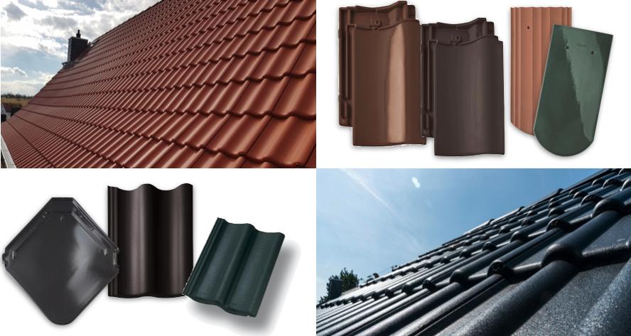 Alt-Tag: Unterschiedliche Dachziegel-Arten in verschiedenen Formen und Farben.