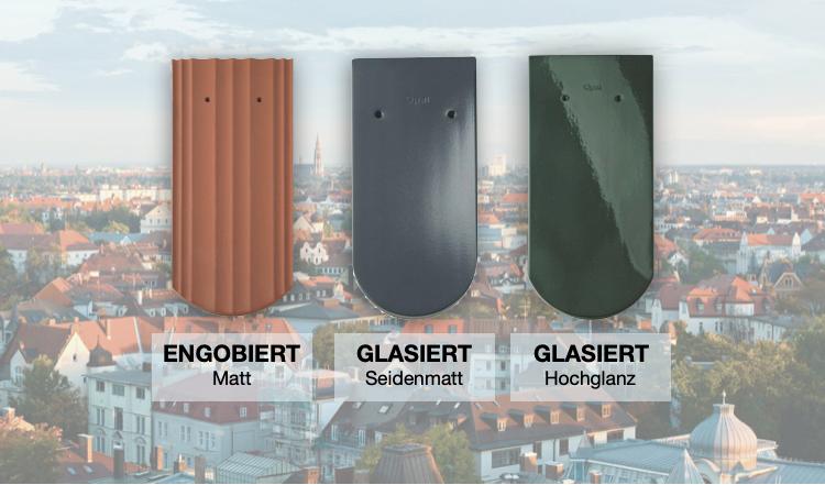 Alt-Tag: Dachziegel gibt es in unterschiedlichen Oberflächen und Farben.