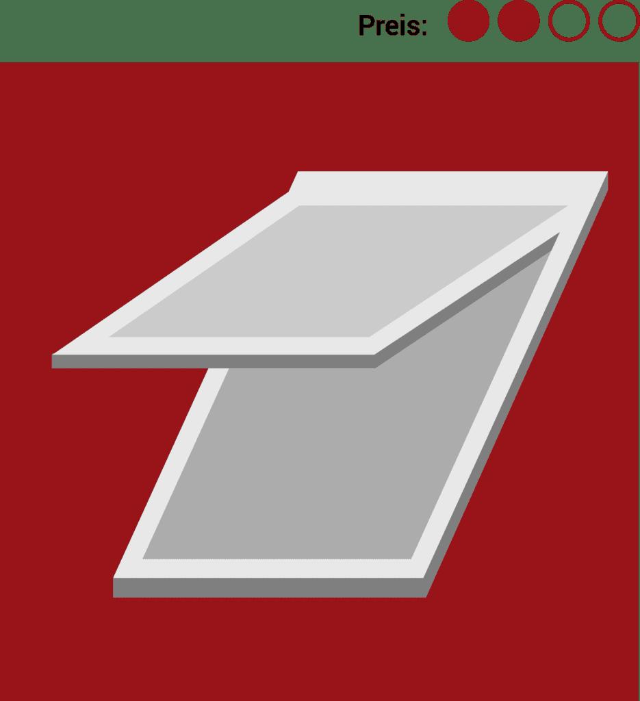 Klapp-Schwingfenster zählen zu den günstig bis mittelpreisigen Dachfenstern.